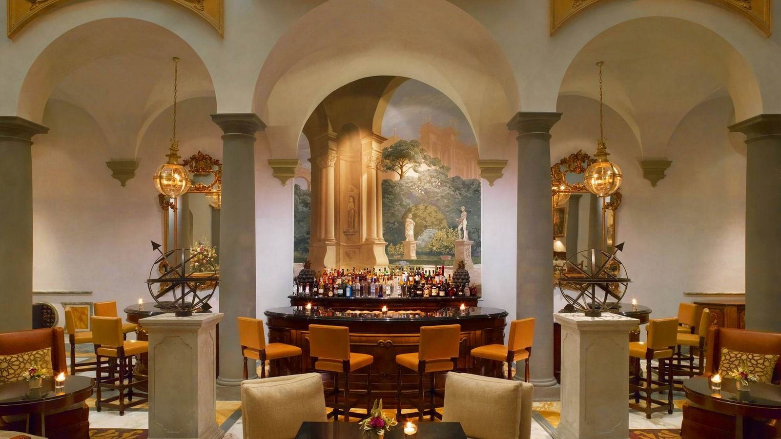 Interior of Winter Garden Bar at St. Regis Florence