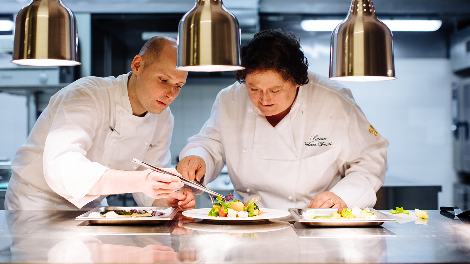 Valeria Piccini and Michele Griglio in the kitchen